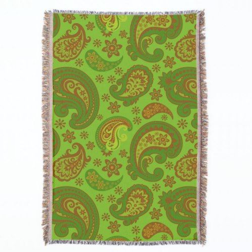 Beautiful Paisley Olive Green Brown Throw Blanket Awesome Olive Green Throw Blanket