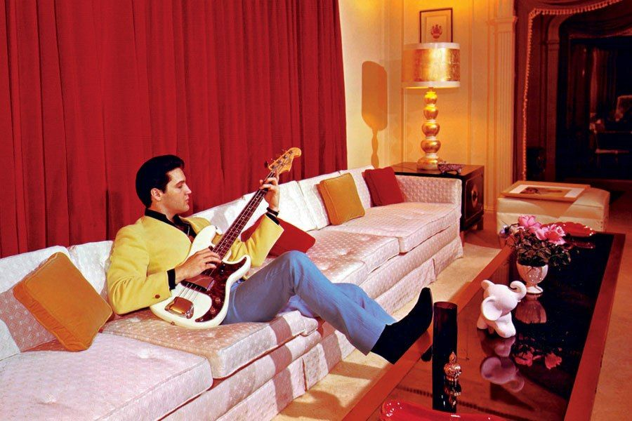 Elvis Presley On His 15ft Sofa In His Mansion Graceland, In Memphis,  Tennessee.