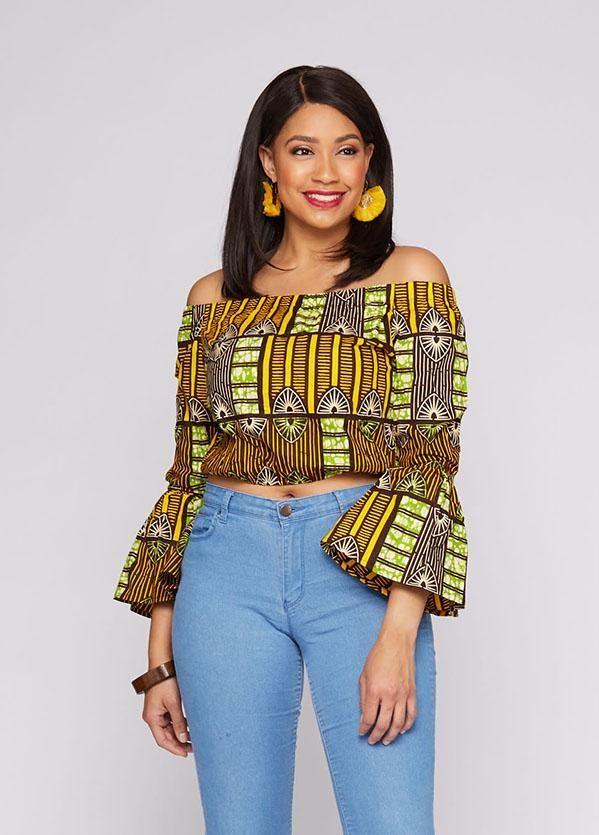 Reta African Print Bell Sleeve Crop Top (Yellow Green Bamboo) #africanprintdresses