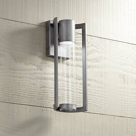Maxfield silver 15 high led outdoor wall light