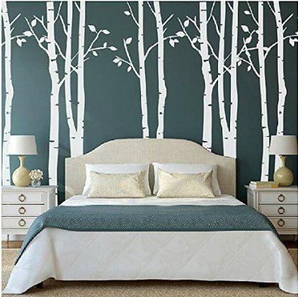 Lot de 9 sticker mural motif arbre bouleau blanc arbre - Stickers muraux pour salon ...