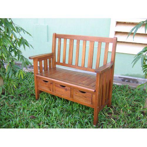 Superb International Caravan Acacia Wood Three Drawer Bench With Dailytribune Chair Design For Home Dailytribuneorg