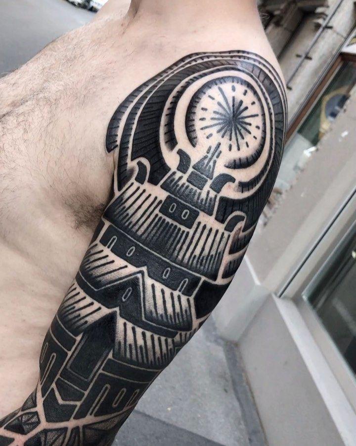 Norse pagan sleeve from some time ago finished . #freehandtattoo #norse #nordic #viking #vikings #vikingtattoo #norsemythology #blackwork #blacktattoo #swisstattoo #zurichtattoo #artheroptera #blackworkatelier