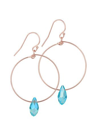 Rose Gold Filled Hoop Earrings with Turquoise Swarovski Crystal