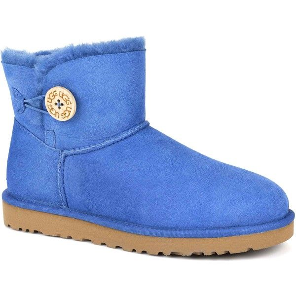 UGG Women's Mini Bailey Button Smooth Blue Boots ($108) ❤ liked on Polyvore  featuring shoes, boots, ankle boots, blue, button boots, blue bootie, ugg  ...