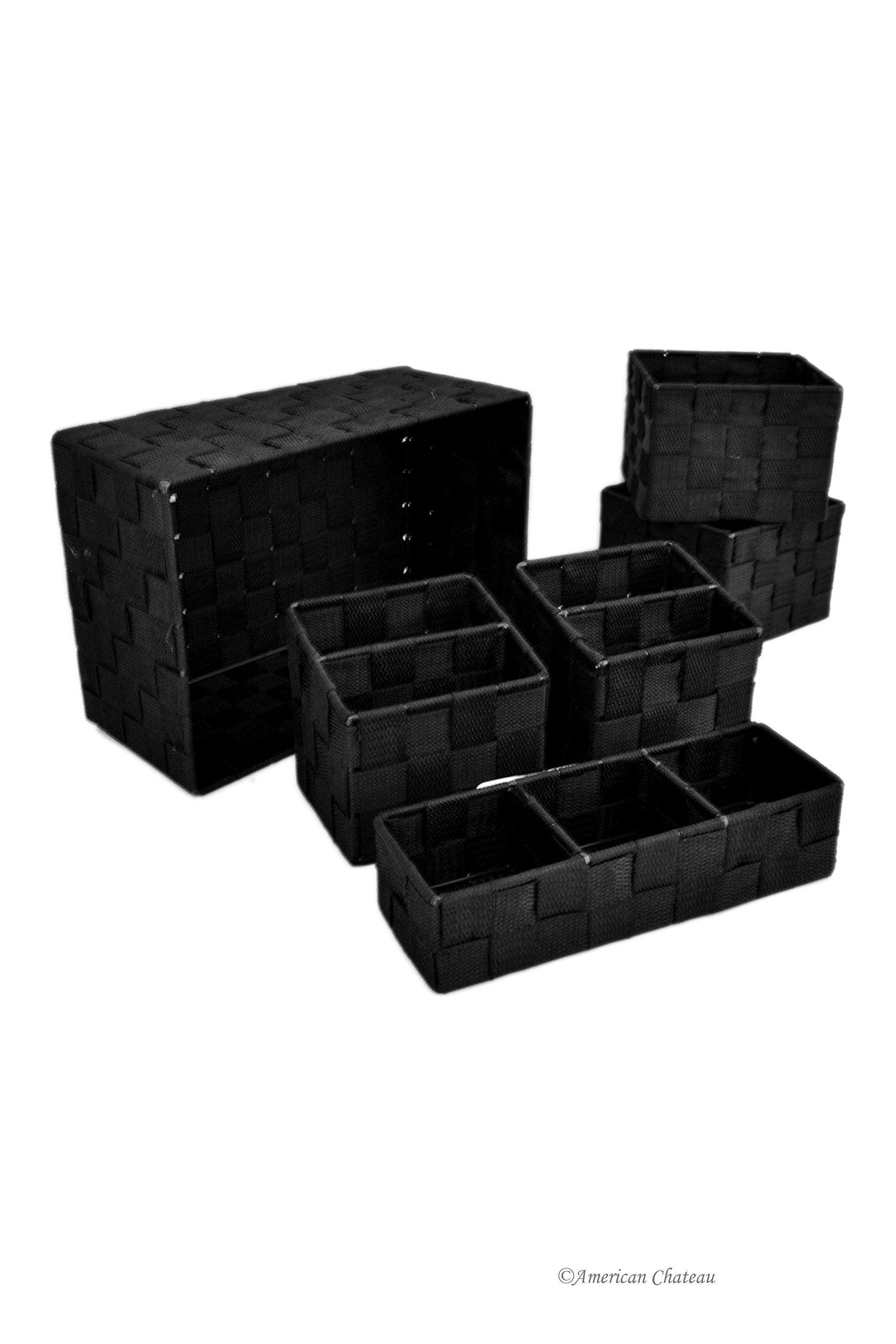 office storage baskets. Amazon.com - Set 6 Black Kitchen/Office Woven Nylon Storage Baskets Cabinet Drawer Office E