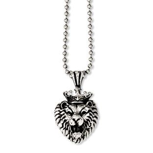 Mens stainless steel antiqued lion pendant necklace mens jewelry mens stainless steel antiqued lion pendant necklace mens jewelry available exclusively at gemologica our aloadofball Gallery