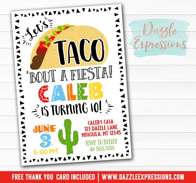 Printable Taco Party Birthday Invitation Any Event Fiesta Taco Bout A Fiesta Party Mexican Themed Invite Kids Teen Or Adult Party 1st 16th