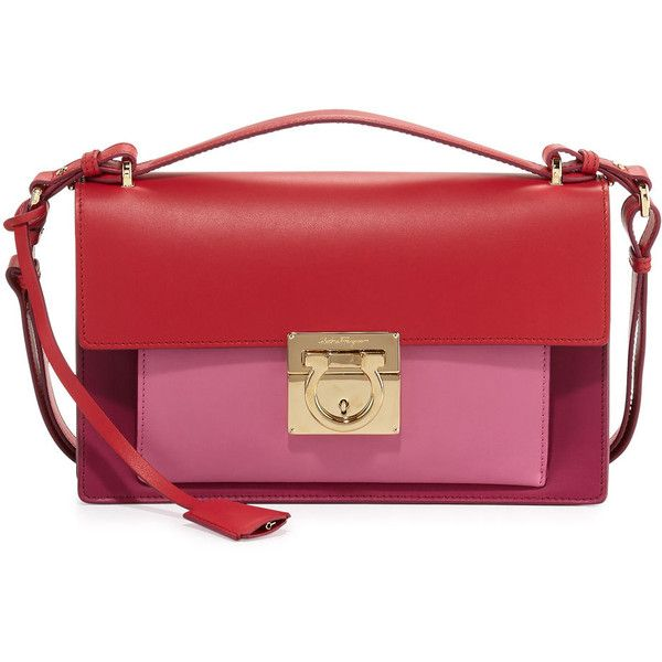 5805c8acdd Salvatore Ferragamo Aileen Colorblock Leather Shoulder Bag (€1.555) ❤ liked  on Polyvore featuring