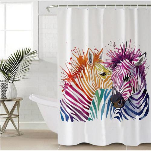 Zebra Decorative Shower Curtain Shower Curtain Decor Elephant