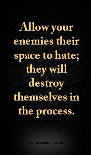 Enemy Quotes Allow your enemies their space to hate; they will destroy  Enemy Quotes