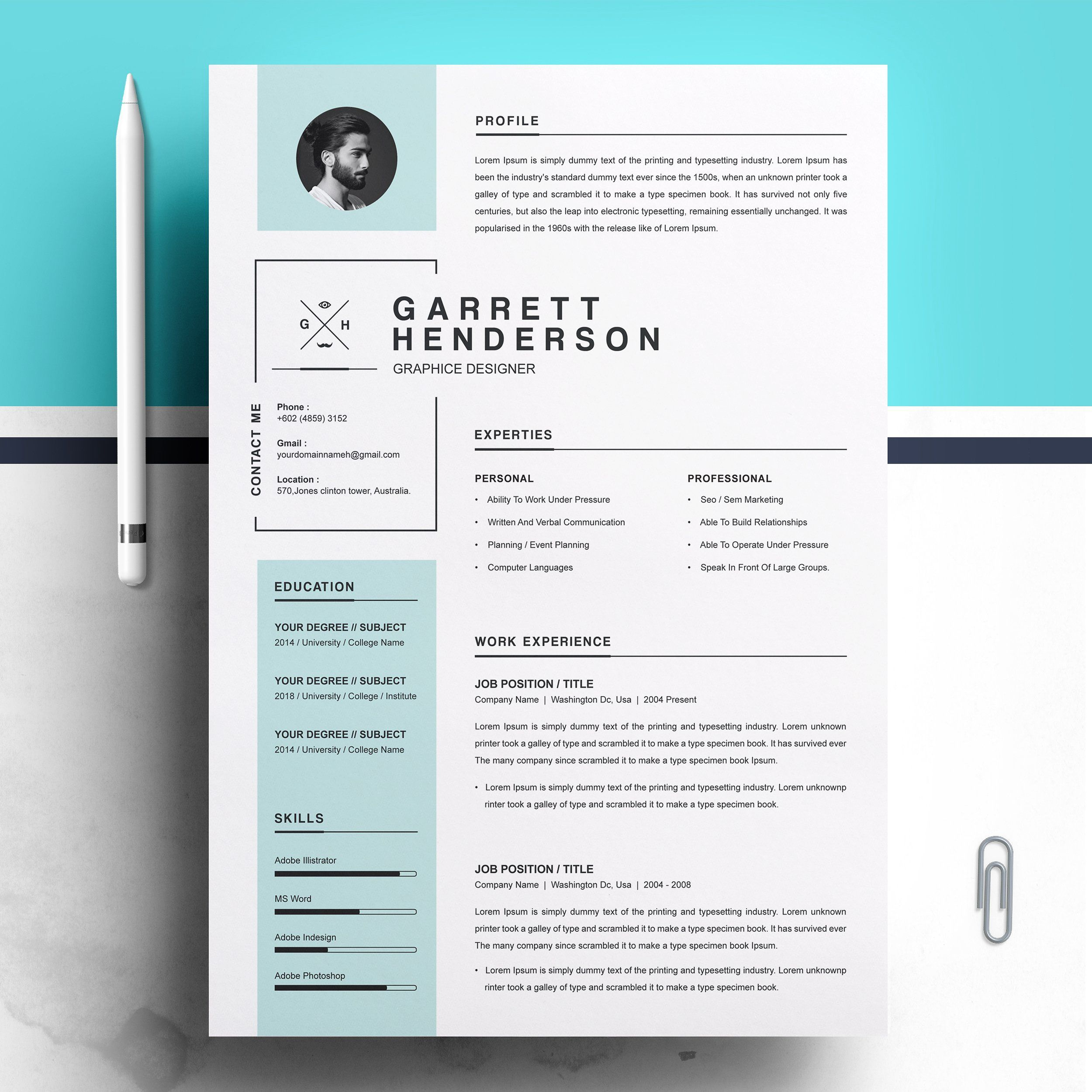 resume  cv word template  a great and easy to use template