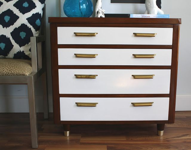 White And Brown Dresser With Gold Handles