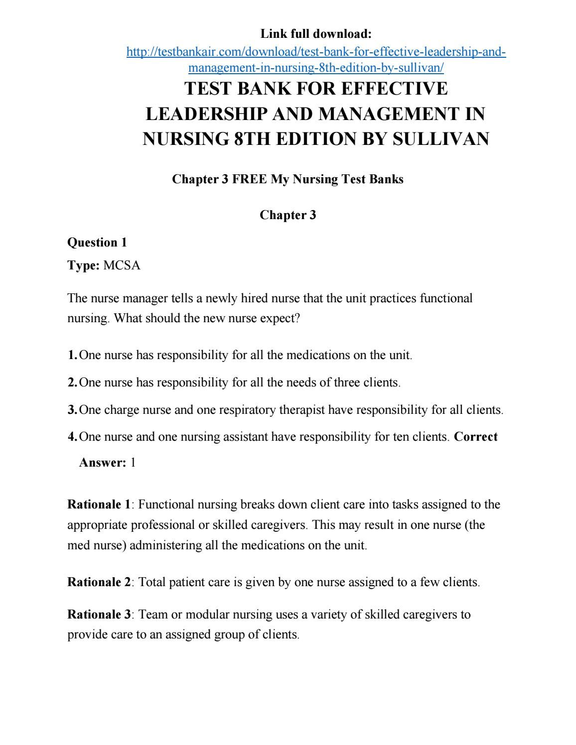 Download test bank for effective leadership and management