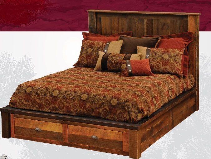King Reclaimed Barnwood Platform Storage Style Bed Solid