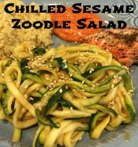 Chilled Sesame Zoodle Salad. Super easy little salad. It takes 10 minutes tops to make. You can take this recipe and make it a warm salad by tossing the zoodles in a saute pan for 5 minutes instead of the fridge.