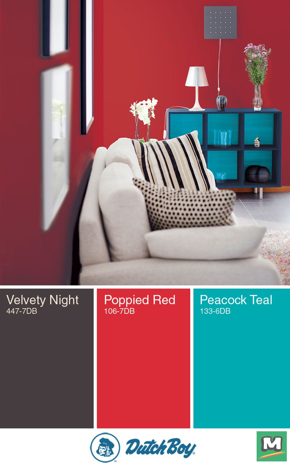 Go bold with this color palette from dutch boy red and blue add an energizing feel while neutrals like an off white or dark gray ground them