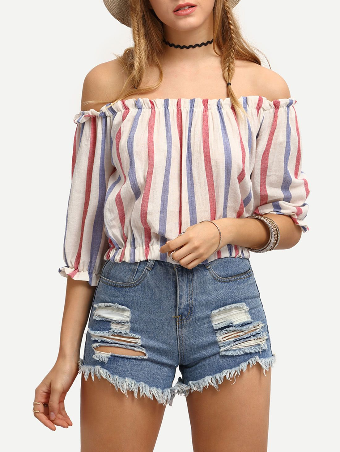 aff72bc62bc Blue & Red Striped Off-The-Shoulder Blouse, $14 from RomWe. Cool and  adorable for summer. But wear some decent shorts! Enjoy RUSHWORLD boards,  BUDGET ...