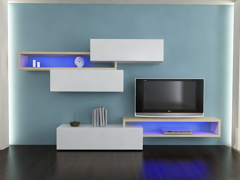 ensemble meuble tv laqu blanc et bois clair contemporain. Black Bedroom Furniture Sets. Home Design Ideas