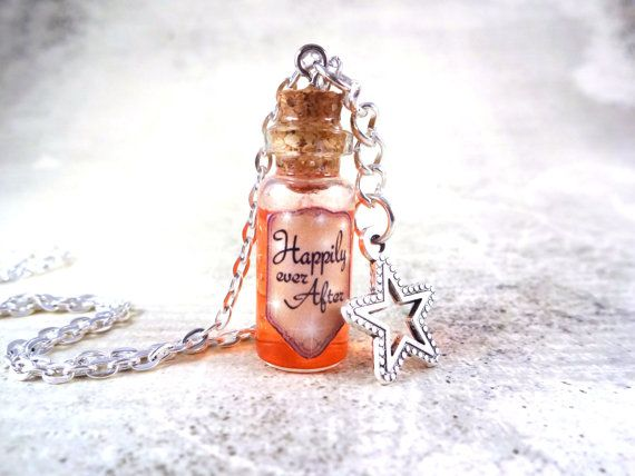 Happily Ever After Necklace Glass Bottle Cork by LittleGemGirl