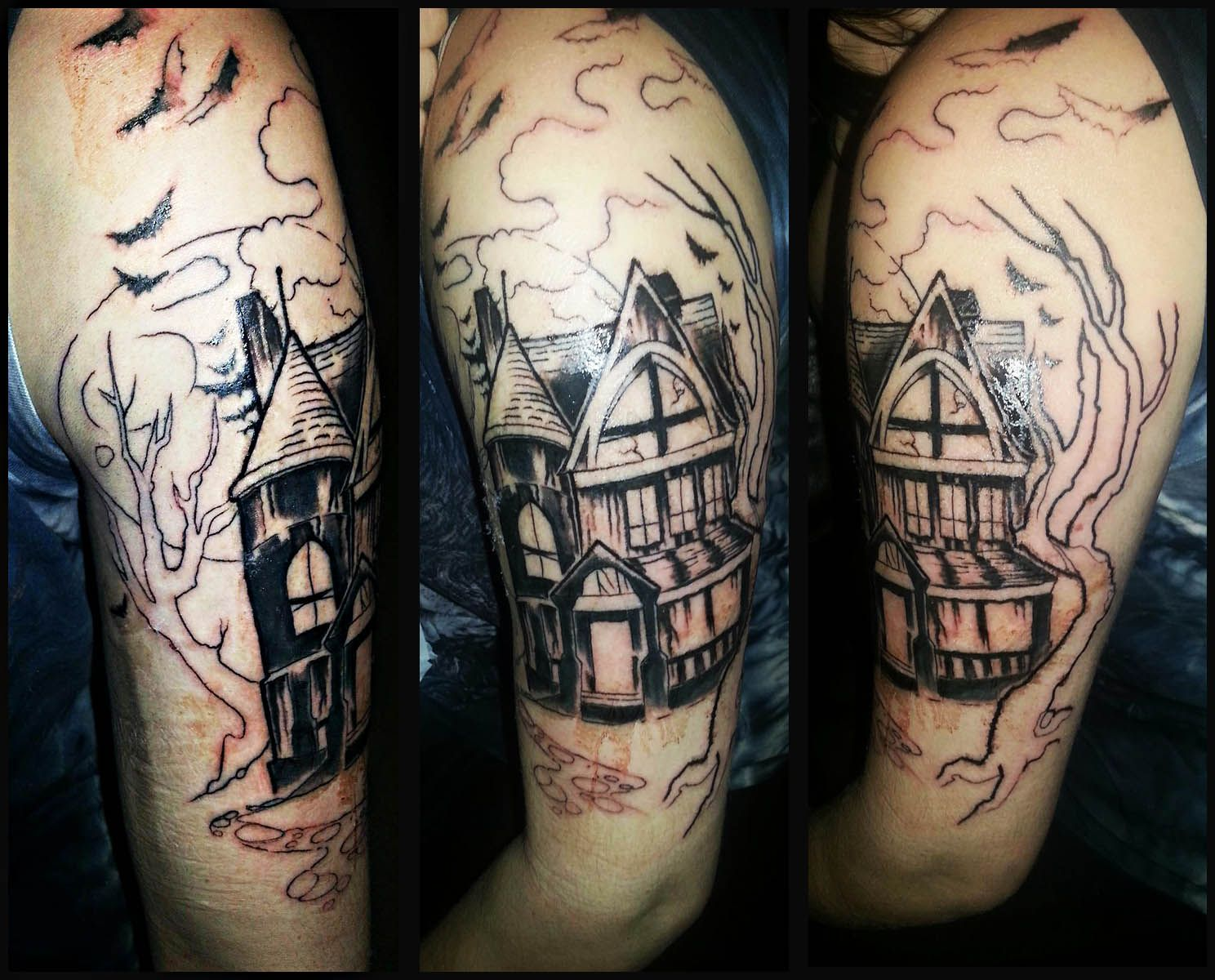 Halloween Tattoo Gallery | Haunted house tattoo, House tattoo and ...