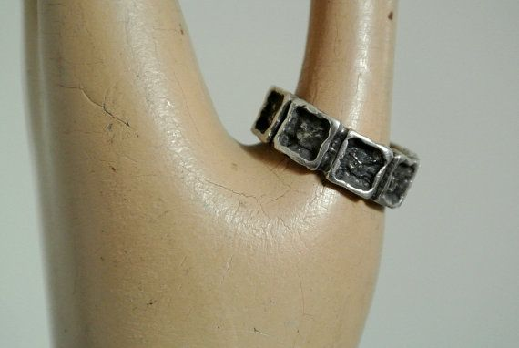 Men?s Brutalist Sterling Silver Ring ? Hallmarked ?D? STERLING ? 1960?s/70?s Abstract Modernist Ring - Size 9.75