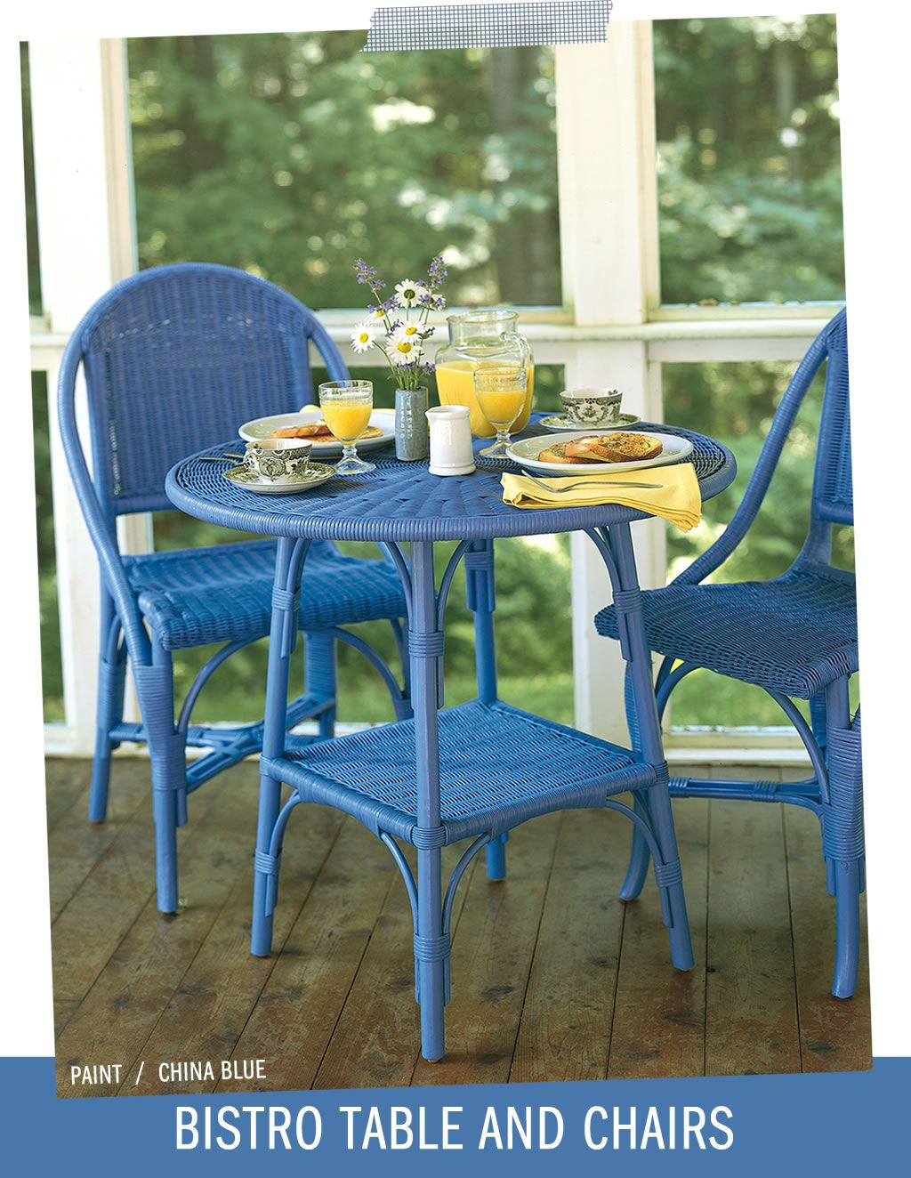 Wicker by Maine Cottage | Bistro Table & Chairs in China Blue ...