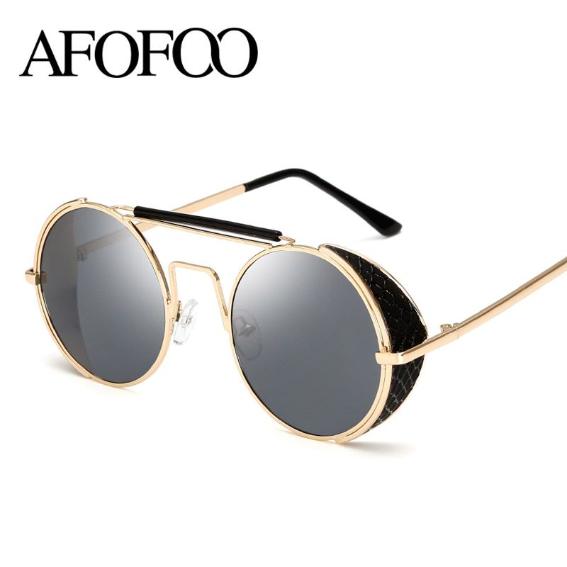 54e3009f6718d AFOFOO Vintage Steampunk Sunglasses Fashion Round Glasses Brand Designer  Women Coating Mirror Sun Glasses Retro Men Shades UV400