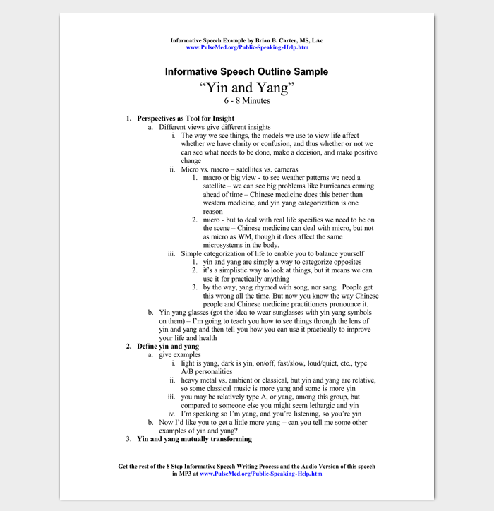 Informative Speech Outline Example  Outline Templates  Create A