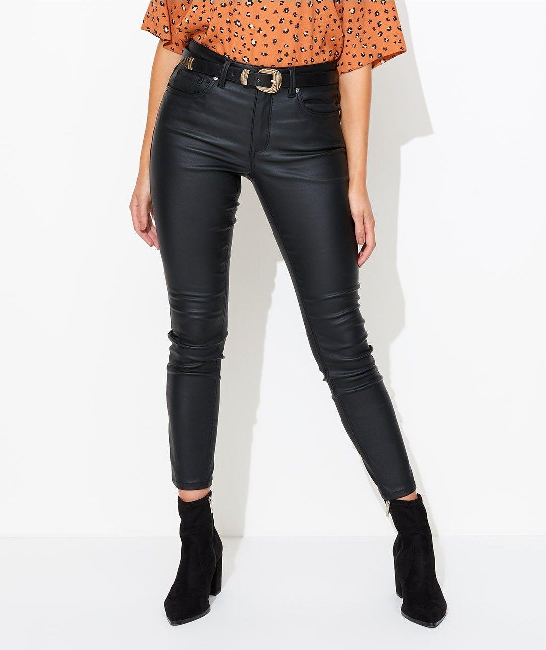 Sportsgirl Classics - Mid Rise Wax Coat Jean - Clothing - Sportsgirl    Black coated jeans, Clothes, Jean coat