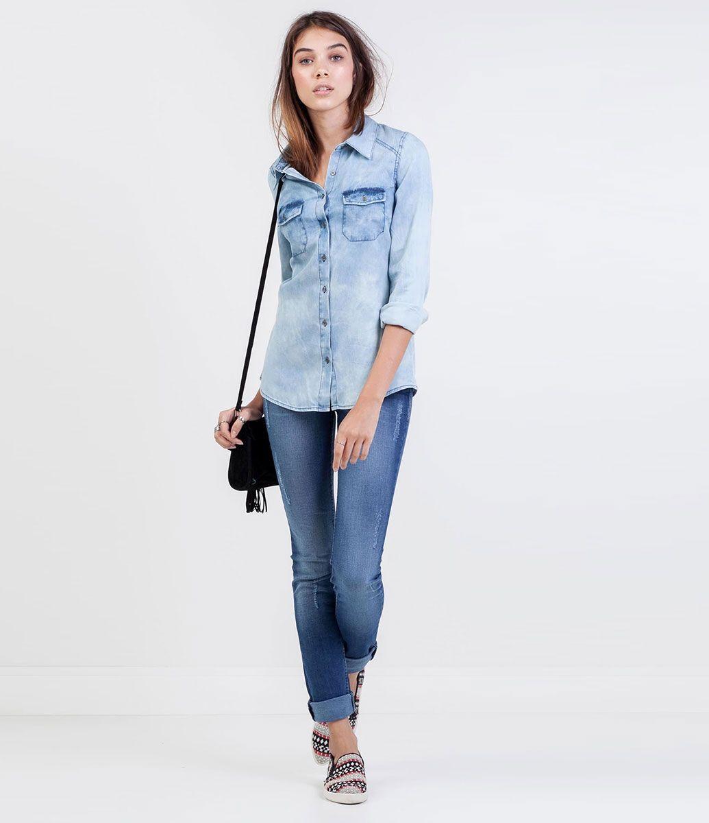 Camisa em Jeans Marmorizado - Lojas Renner