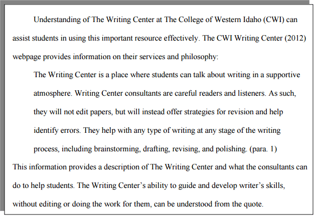 How Do I Format A Block Quote With Apa Formatting Cwi Be An Example Quotation To Write Paraphrase