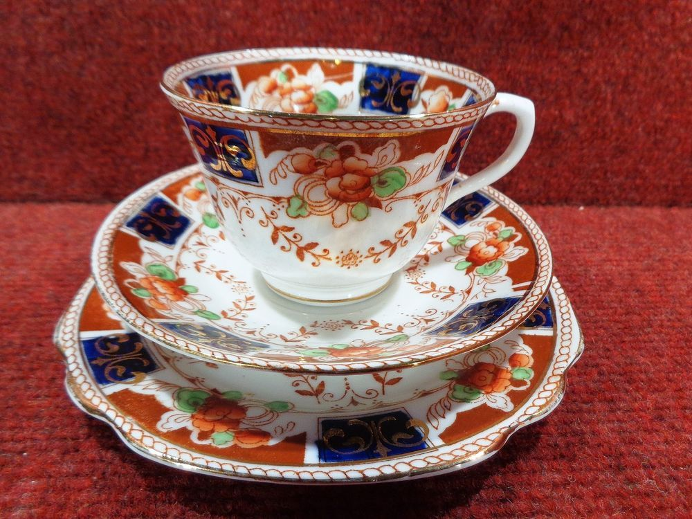 DORIC CHINA Cobalt Blue / Amber / & Iron Red Flora TRIO c1926