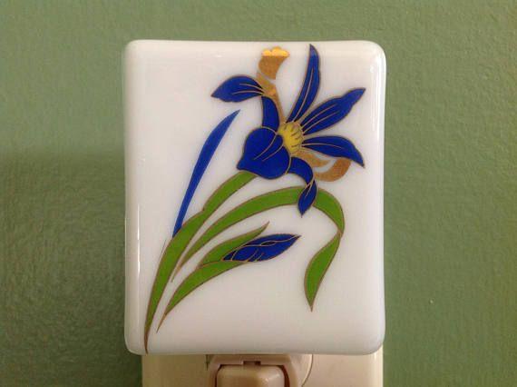 Iris Bathroom Fused Glass Blue Night Light Fused Glass
