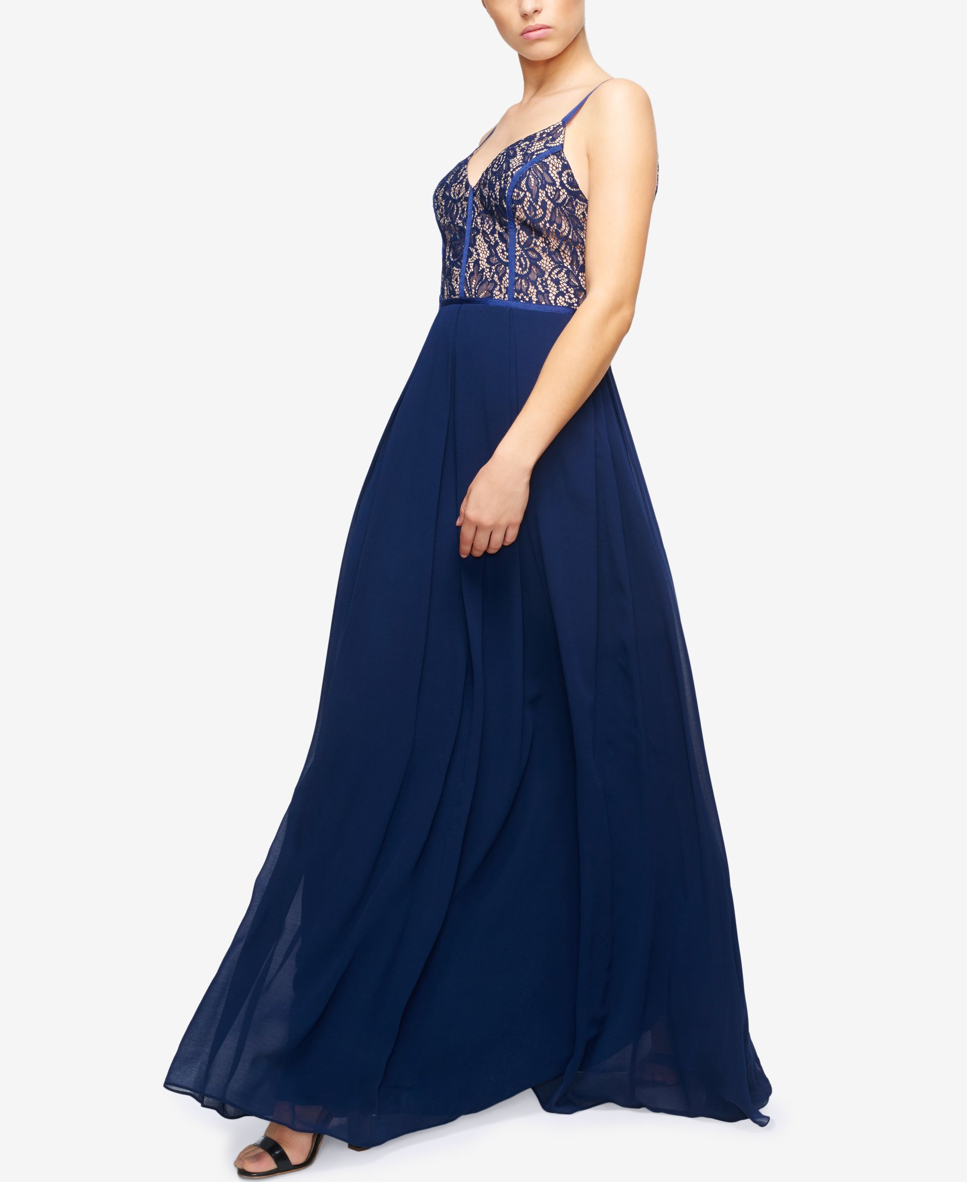 Fame and Partners Classic Lace Bodice Maxi Dress
