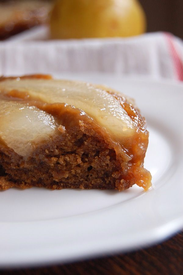 Autumn baking: spiced pear upside-down cake.
