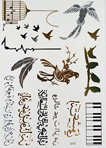 Wonbeauty Black & Silver & Gold waterproof stickers birds,birdcage, feathers, piano, metallic jewelry tattoos. Safe and non-toxic design ideal for body art. Professional grade made to last 3 to 5 days and easily transferred by water. Perfect for vacations, girls night, pool parties, bachelorette parties, or any other event you want to look glamorous.