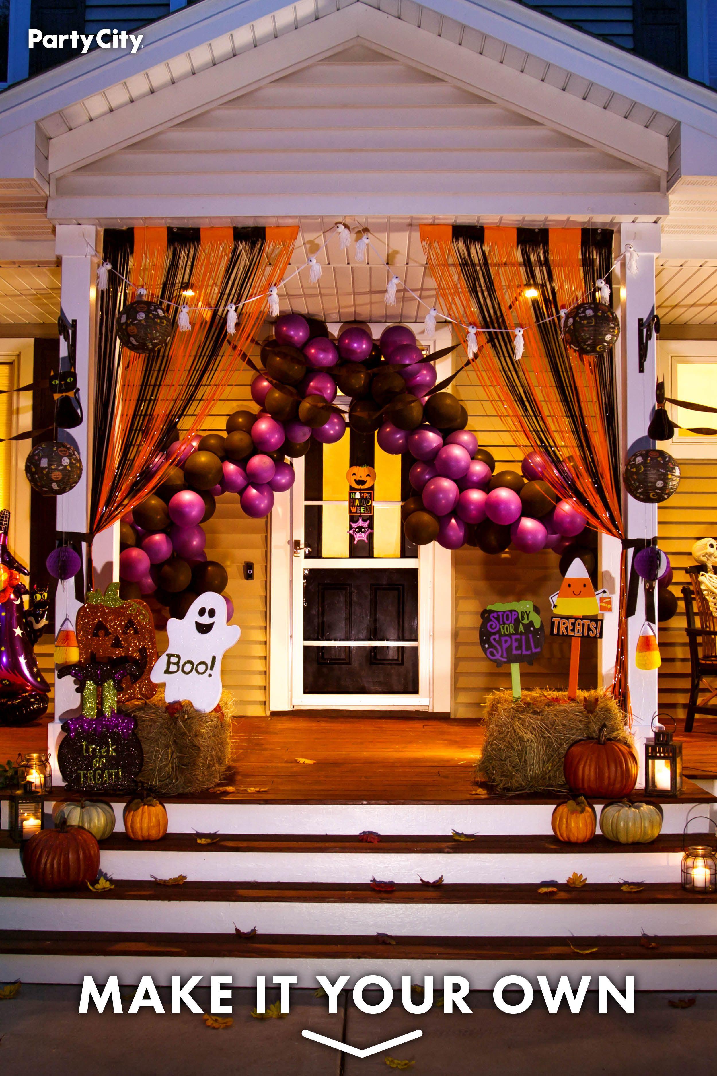 Friendly Fun And Festive Halloween Porch Decor Halloween Outdoor Decorations Halloween Party Kids Halloween Deco