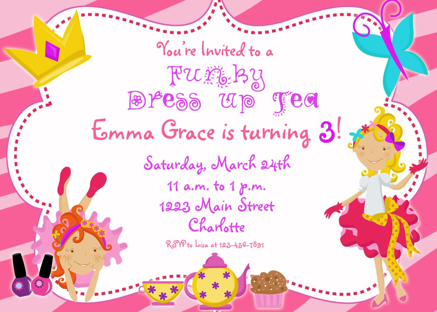 Dress Up Party Birthday Invitation  Funky Dress Up Glamour Party