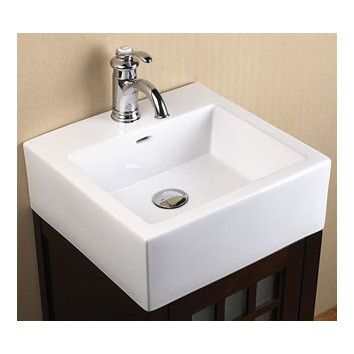 Ceramic Rectangular Vessel Bathroom Sink With Overflow Sink