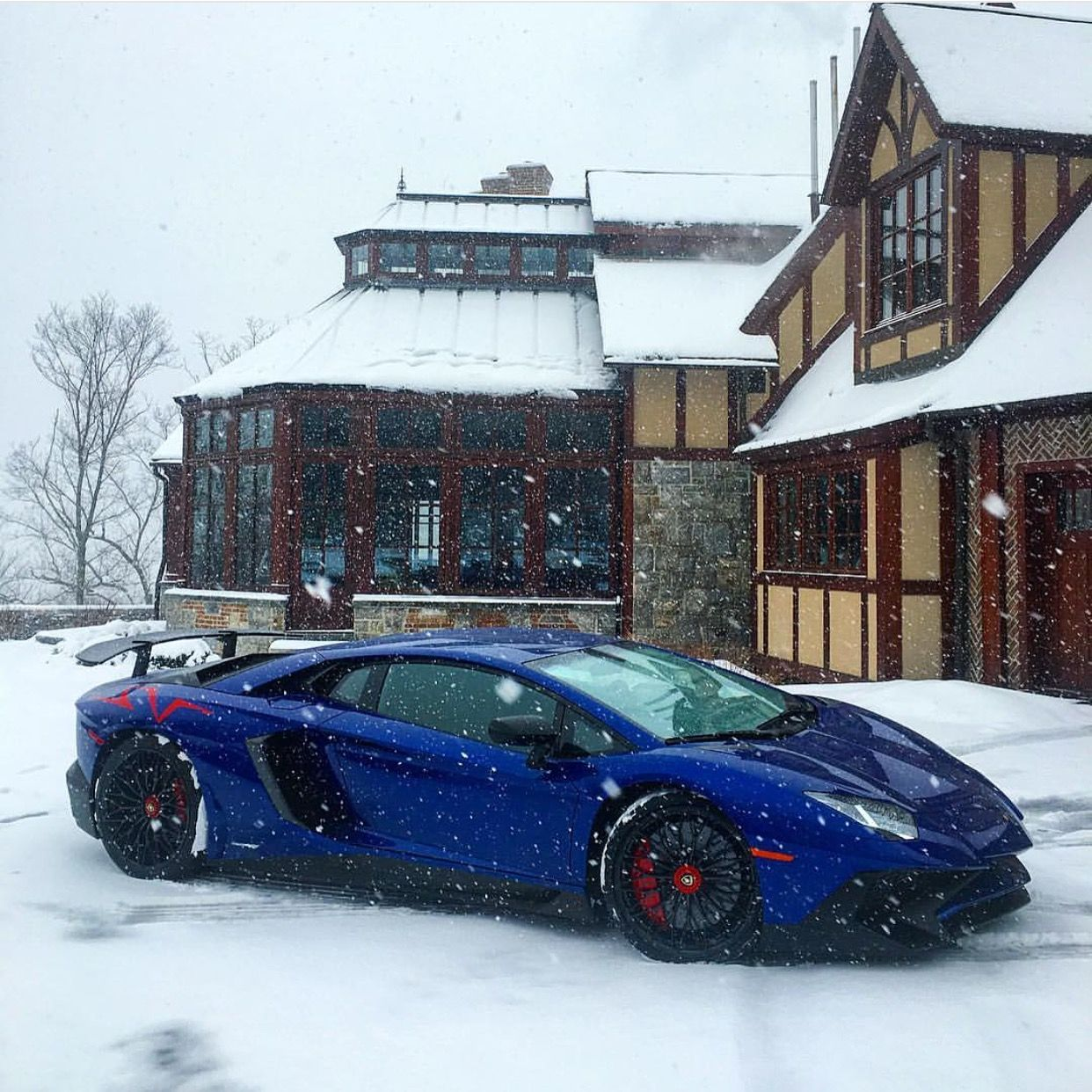Lamborghini Aventador Super Veloce Coupe Painted In Blu Sideris W/ Red