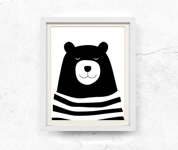 Bear print bear illustration kids wall art black and white bear art print digital download prints nursery printable 8x10 11x14