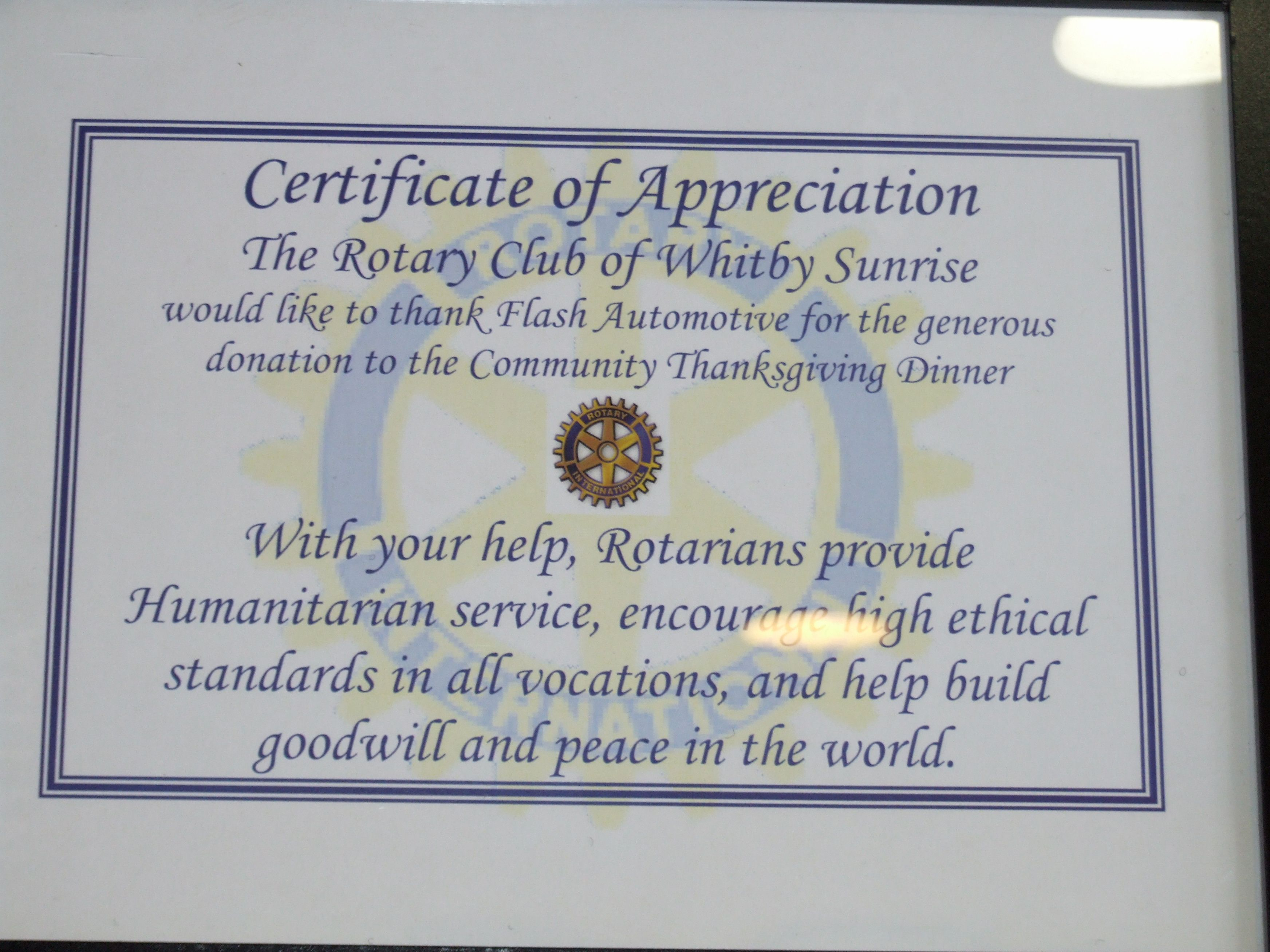 Certificate Of Appreciation From The Rotary Club Whitby Sunrise