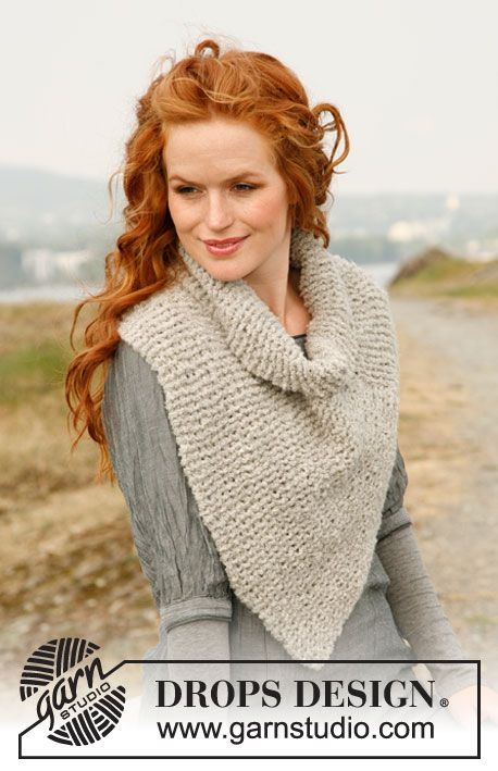 "Knitted DROPS neck warmer in 2 threads ""Alpaca Bouclé"". ~ DROPS ..."
