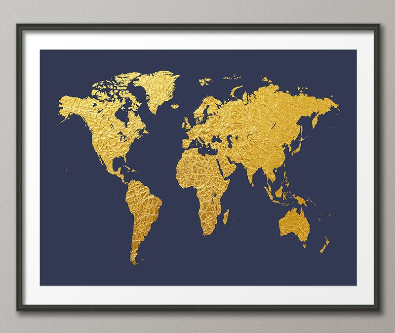 World map gold foil map of the world gold leaf art print 2466 by world map gold foil map of the world gold leaf art print 2466 gumiabroncs Gallery