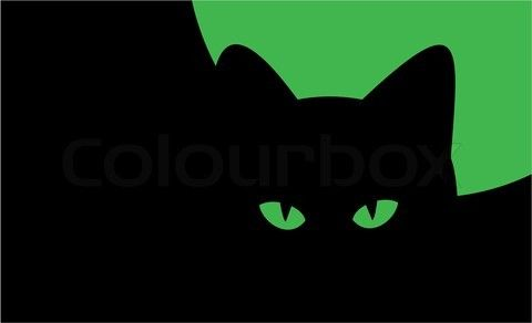 Vector of 'illustration on theme of Halloween  - silhouette of cat against the moon'