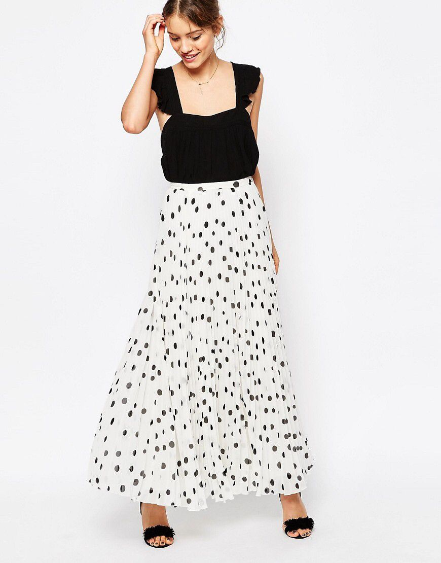 649bcdbd51 ASOS Pleated Maxi Skirt in Polka Dot at asos.com