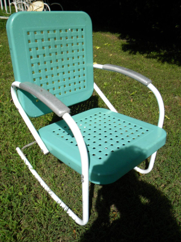 Vtg S S Retro Outdoor Metal Lawn Patio Porch Rocking Chair