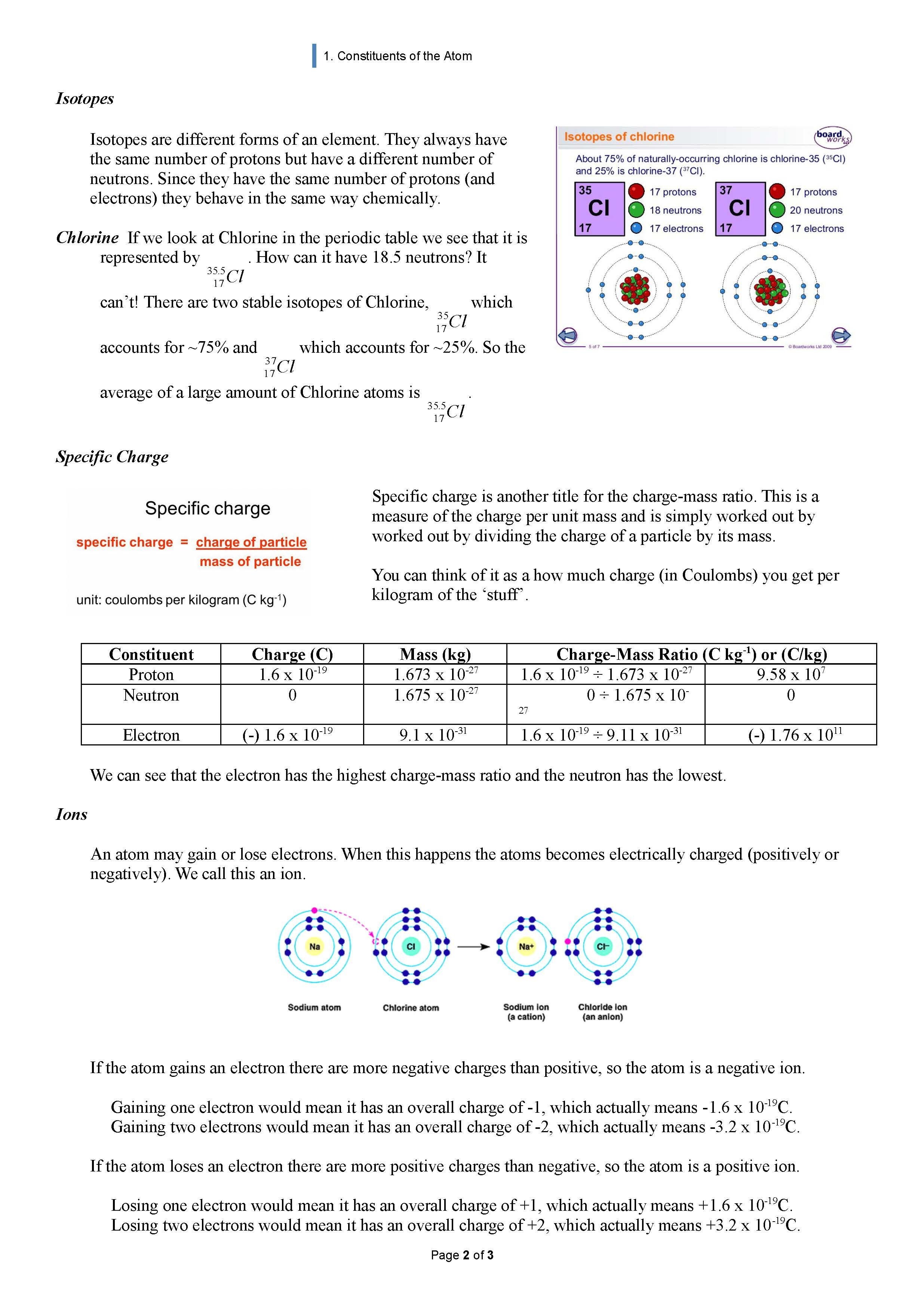 Which atom is which Worksheet - Free Worksheet
