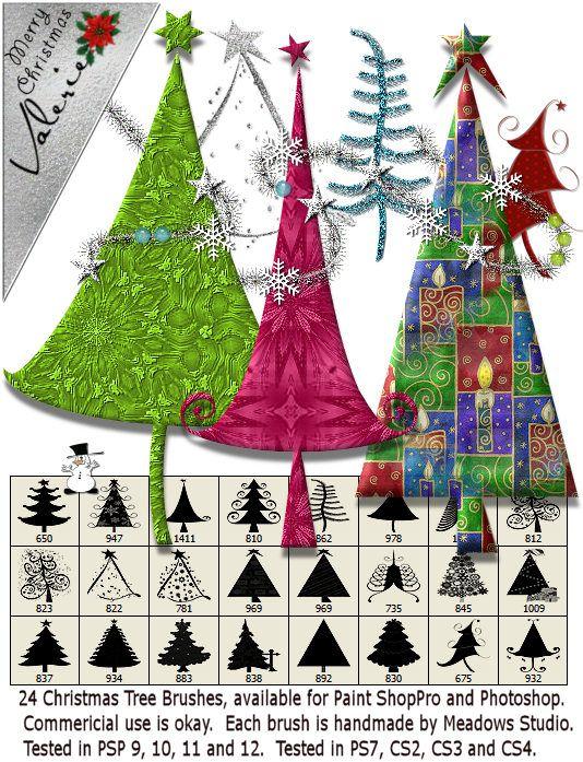 Christmas Tree Brushes For Photoshop Or Paintshop Pro